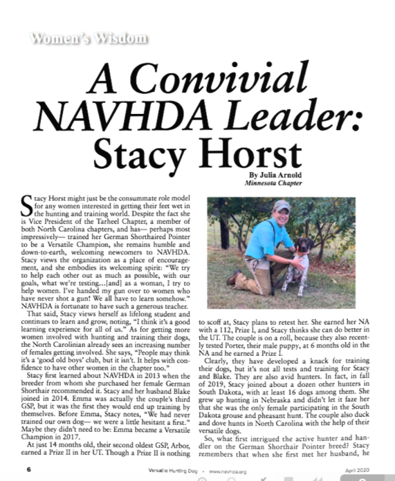Stacy Horse Article 1st page
